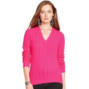 Ralph Lauren Cable Knit V Neck Hot Pink Sweater